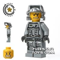 Product shot LEGO Power Miners Mini Figure - Power Miner Rex Gray