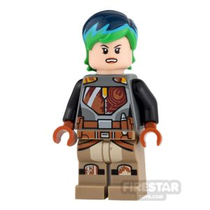 Product shot LEGO Star Wars Mini Figure - Sabine Wren - Blue and Green Hair
