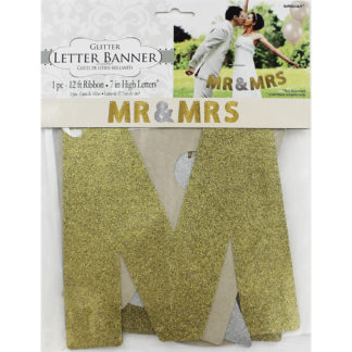 Product shot Mr And Mrs Gold And Silver Glitter Letter Banner