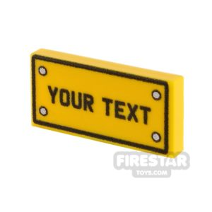 Product shot Personalised Car Licence Number Plate - Yellow 1x2 Tile