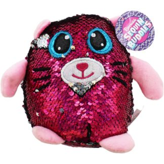 Product shot Pink Silver Reverse Sequin Cat Plush