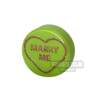 Product shot Printed Round Tile 1x1 - Brick Hearts - Marry Me