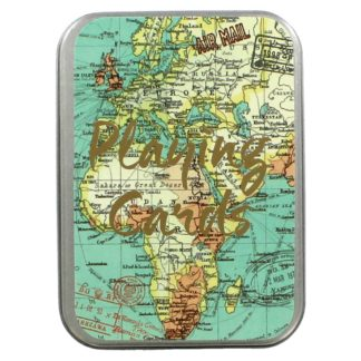 Product shot Blue Vintage Map Playing Card Tin