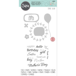 Product shot Celebration Phrases Cutting Die And Stamp Set
