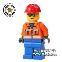 Product shot LEGO City Mini Figure - Construction Worker - Blue Legs