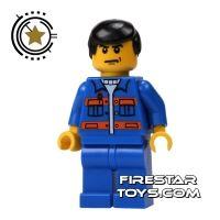 Product shot LEGO City Mini Figure - Construction Worker - Blue Overalls 1