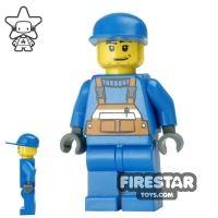 Product shot LEGO City Mini Figure - Construction Worker - Blue Overalls 6