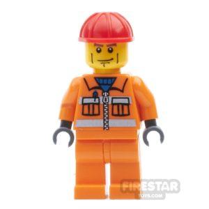 Product shot LEGO City Mini Figure - Construction Worker - Orange Overalls 16
