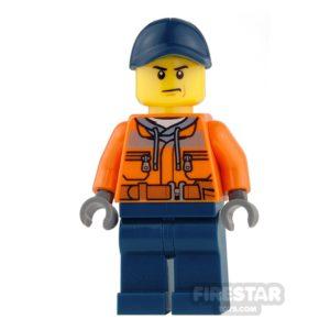 Product shot LEGO City Mini Figure - Construction Worker with Dark Blue Cap