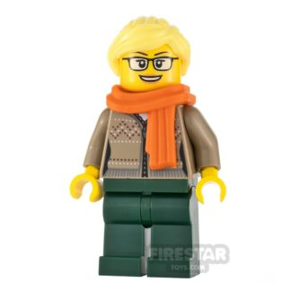 Product shot LEGO City Minifigure Drinks Stand Clerk Orange Scarf