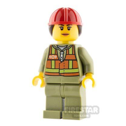 Product shot LEGO City Minifigure Female Safety Vest and Hard Hat