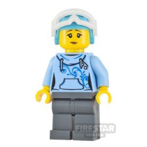 Product shot LEGO City Minifigure Skier Bright Light Blue Hoodie