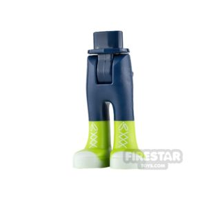 Product shot LEGO Friends Mini Figure Legs - Dark Blue with Lime Boots