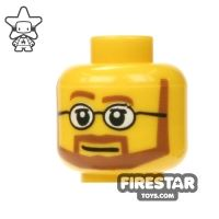 Product shot LEGO Mini Figure Heads - Brown Beard and Glasses