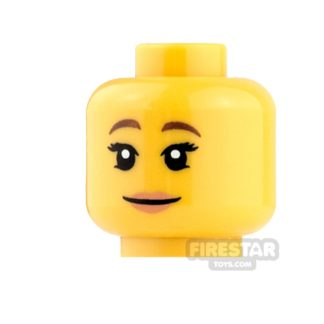 Product shot LEGO Mini Figure Heads - Brown Eyebrows and Bright Pink Lips