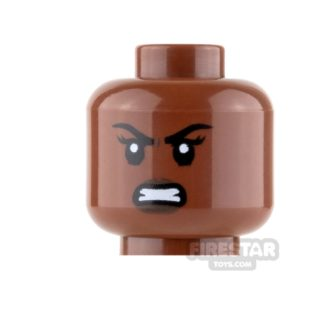 Product shot LEGO Mini Figure Heads - Dark Brown Lips - Lopsided Grin / Angry