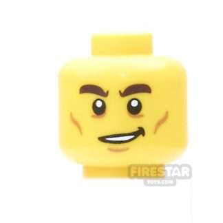 Product shot LEGO Mini Figure Heads - Lopsided Smile and Cheek Lines