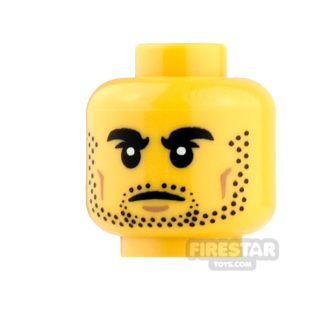 Product shot LEGO Mini Figure Heads - Thick Eyebrows and Stubble