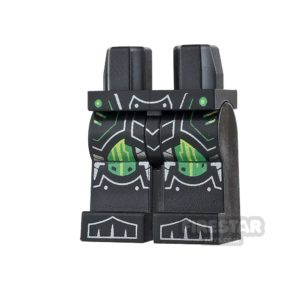 Product shot LEGO Mini Figure Legs - Black with Green Kneepads and Armour