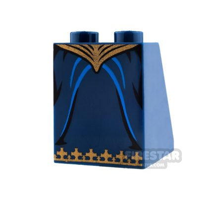 Product shot LEGO Mini Figure Legs - Dark Blue Skirt with Gold Trim and Waist