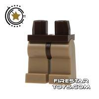 Product shot LEGO Mini Figure Legs - Dark Tan with Dark Brown Hips