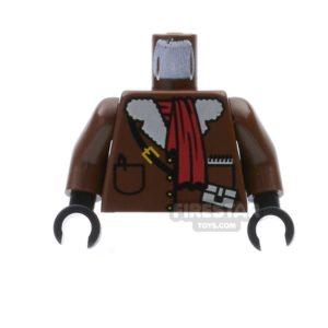 Product shot LEGO Mini Figure Torso - Adventurer - Brown Leather Jacket