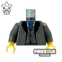 Product shot LEGO Mini Figure Torso - Pinstripe Suit and Tie