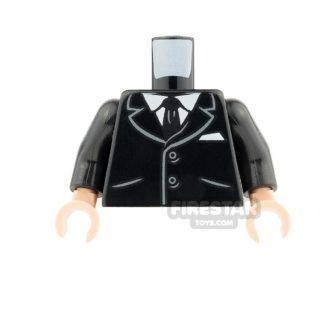 Product shot LEGO Mini Figure Torso - Suit with Buttons and Pockets - Light Flesh Hands
