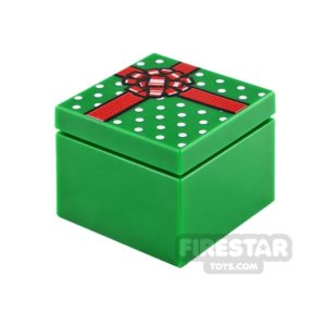 Product shot Printed Box 2x2  Green Present with Red Ribbon