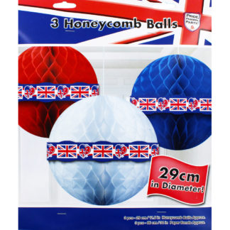 Product shot Red White And Blue Hanging Honeycomb Balls - Set Of 3
