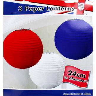 Product shot Red White And Blue Hanging Lanterns - Set Of 3
