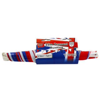 Product shot Red White And Blue Plastic Pennant Bunting - 25M