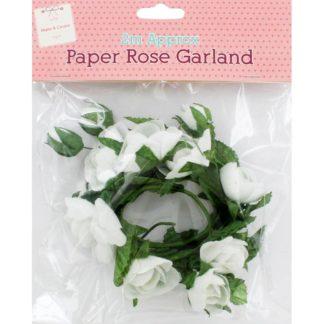 Product shot White Paper Rose Garland - 2M