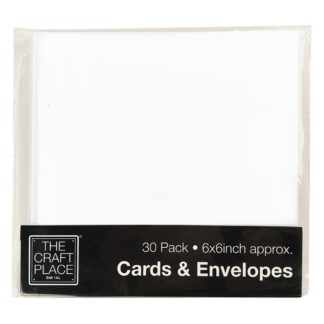Product shot 30 White Cards And Envelopes - 6 X 6 Inches