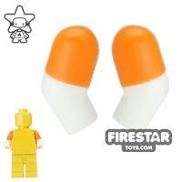 Product shot LEGO Mini Figure Arms - Pair - Orange Short Sleeves