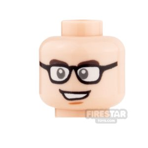 Product shot LEGO Mini Figure Heads -  Glasses and Open Mouth Smile / Closed Mouth