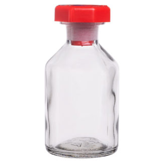 RVFM Clear Reagent Glass Bottles with Stopper 50ml Pack 10