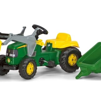 Rolly Toys Kids John Deere Front loader Tractor and Trailer