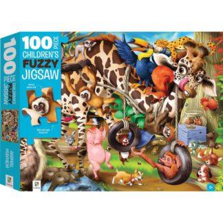 Product shot 100-Piece Children's Fuzzy Jigsaw: Animal Mayhem
