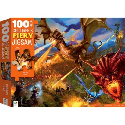 Product shot 100-Piece Fiery Jigsaw Puzzle: Dragons