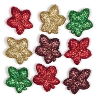 3D Polystyrene Autumn Leaves - 20 Miniature Glitter Leaves For Crafts