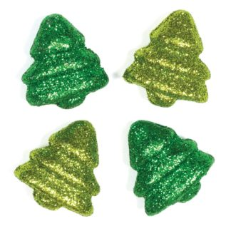 4cm 3D Polystyrene Christmas Trees - 25 Miniature Glitter Christmas Trees For Crafts
