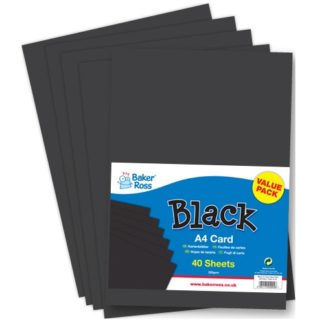 A4 Black Card - 40 Sheets Black 220gsm A4 Card. Ideal for crafts and collages.