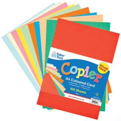 A4 Coloured Copier Card - 100 sheets of card suitable for printers and copiers.Assorted colours. 160gsm. 210 x 297 mm