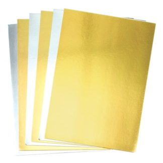 A4 Gold & Silver Card - 20 Sheets of Metallic Card. Weight 250gsm.