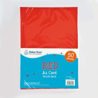 A4 Red Card - 50 Sheets of Red A4 220gsm Card