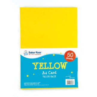 A4 Yellow Card - 50 Sheets of Yellow A4 220gsm Card