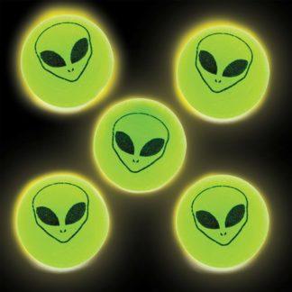 Alien Glow In The Dark Bouncy Balls - 12 Super Bouncy Glowing Rubber Balls. Jet High Bounce Balls. Size 3cm.