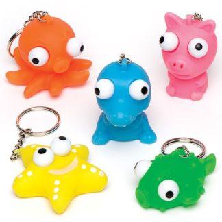 Animal Eye Popper Keyrings - 6 Kids Animal Keyrings. 6 assorted: octopus