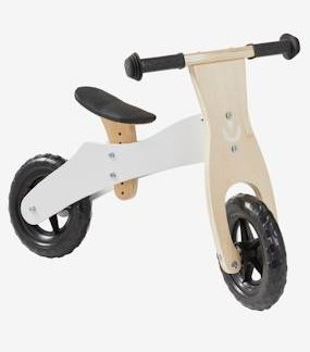 Balance Bike in Wood white medium solid with design